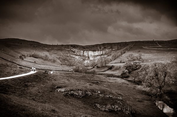 A view of Malham Cove in the Yorkshire Dales.