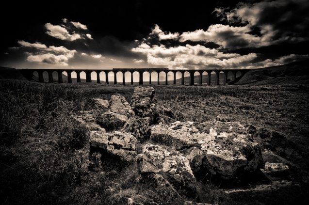 An image of a train crossing the Ribblehead Viaduct