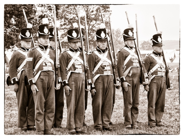 A group of re-enactment soldiers.