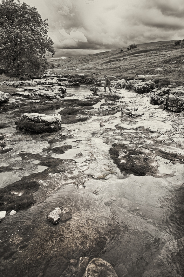 Walking across a very low River Wharfe