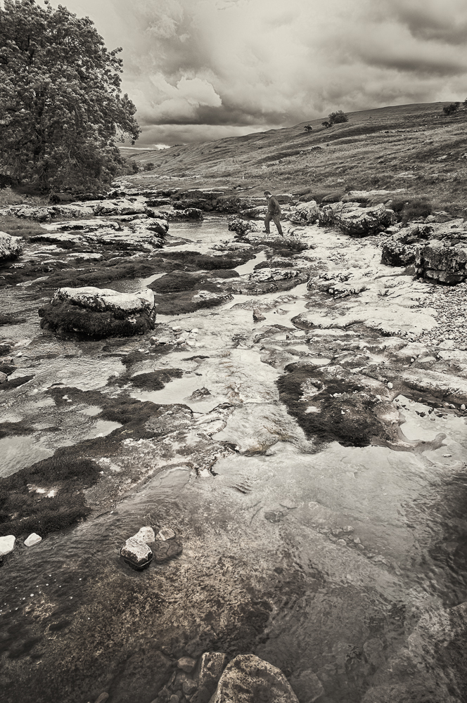 Walking across a very low River Wharfe