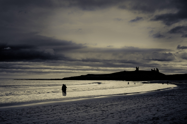 A beach near Bamburgh Castle