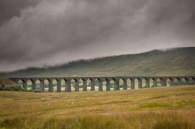 Clouds rolling over Wherneside at the Ribblehead Viaduct.