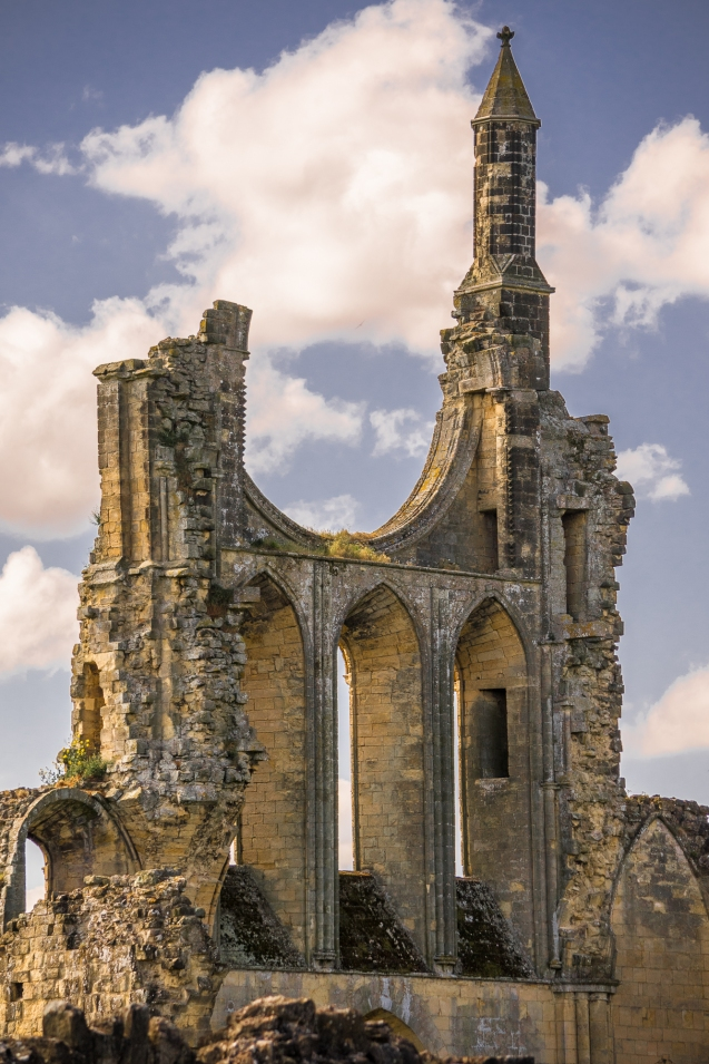 Byland Abbey main entrance in the shade.