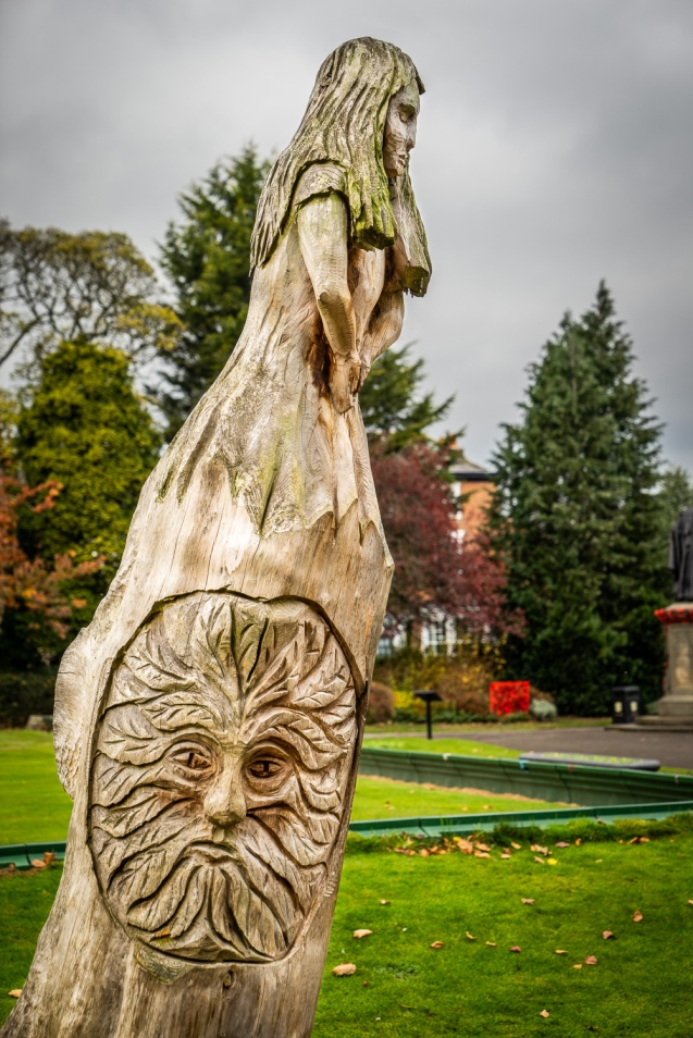 Carving of a green man